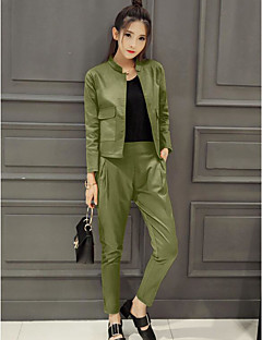 Women's Work Simple Spring Shirt Pant Suits,Solid Crew Neck Long Sleeve