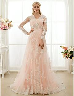 Prinsesse V-hals Hoffslep Blonder Bryllupskjole med Appliqué Knapper Krystalldetaljer av LAN TING BRIDE®