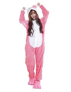 billige Kigurumi-Kigurumi-pysjamas med tøfler Kat Onesie-pysjamas Kostume Flannelstoff Rosa Cosplay Til Voksne Pysjamas med dyremotiv Tegnefilm Halloween
