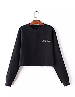 Women's Holiday Going out Casual/Daily Sweatshirt Letter Round Neck Micro-elastic Polyester Long Sleeve Spring Fall
