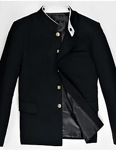 Herren Solide Einfach Lässig/Alltäglich Blazer,Rundhalsausschnitt Frühling Kurzarm Standard Baumwolle