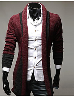 Men's Going out Casual/Daily Street chic Regular Cardigan,Solid Shirt Collar Long Sleeve Cotton Spandex Fall Winter Thick Micro-elastic