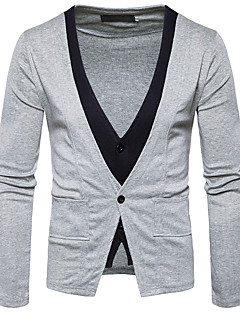 Men's Daily Regular Cardigan,Color Block V Neck Long Sleeves Polyester Winter Fall Medium Micro-elastic