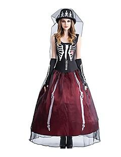 billige Voksenkostymer-Skjelett / Kranium Brud Kostume Dame Kjoler Halloween Halloween De dødes dag Festival / høytid Halloween-kostymer Drakter Rød / Svart Vintage
