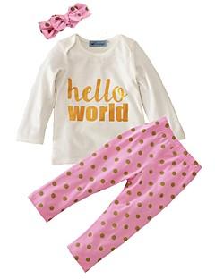 billige Sett med babyklær-Baby Pige Tøjsæt Bomuld Afslappet/Hverdag Trykt mønster, Bomuld Forår/Vinter Efterår Langærmet Punkt Hvid