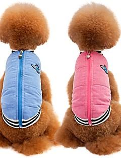 billiga Hundkläder-Katt / Hund Kappor / Väst Hundkläder Enfärgad Blå / Rosa Bomull / Linneblandning Kostym För husdjur Fest / Ledigt / vardag / Håller värmen