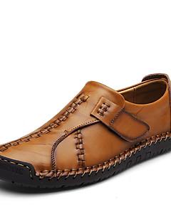 ieftine -Bărbați Pantofi Nappa Leather Toamnă Iarnă Confortabili Mocasini & Balerini Combinată Pentru Casual Party & Seară Negru Maro Maro Închis