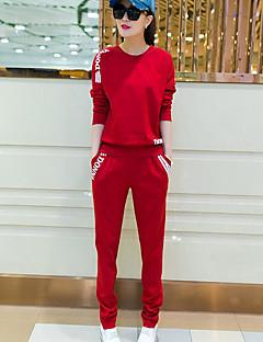 Dámské Jednobarevné Sport Jednoduchý Trička Kalhoty Obleky-Léto Kulatý Dlouhý rukáv