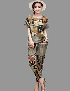 Women's Spring T-shirt Pant Suits Round Neck 3/4-Length Sleeve Inelastic
