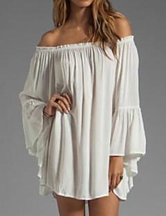 Χαμηλού Κόστους Ώμοι Έξω-Γυναικεία Μεγάλα Μεγέθη Σιφόν Φόρεμα - Μονόχρωμο Μίνι Χαμόγελο Άσπρο