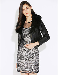 Women's Casual/Daily Going out Sophisticated Fall Winter Leather Jacket,Solid V Neck Long Sleeve Short Fur Trim