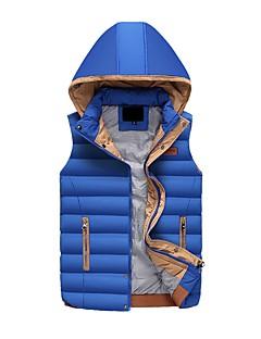 コート レギュラー ダウン メンズ,カジュアル/普段着 ストライプ ポリエステル ポリプロピレン-シンプル ノースリーブ