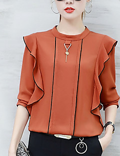 Women's Casual/Daily Simple Street chic Fall Blouse Solid Round Neck Long Sleeves Polyester Thin