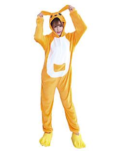 billige Kigurumi-Kigurumi-pysjamas med tøfler Kenguru Onesie-pysjamas Kostume Flannelstoff Cosplay Til Voksne Pysjamas med dyremotiv Tegnefilm Halloween