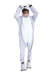 billige Kigurumi-Kigurumi-pysjamas med tøfler Koala Onesie-pysjamas Kostume Flannelstoff Grå Cosplay Til Pysjamas med dyremotiv Tegnefilm Halloween