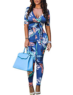Women's High Rise Going out Club Holiday JumpsuitsVintage Sexy Over Hip Lace Up Boho Skinny Floral Print Spring Summer