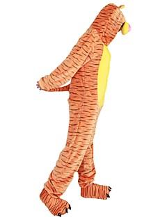 billige Kigurumi-Voksne Kigurumi-pysjamas Tiger Onesie-pysjamas Flannelstoff Cosplay Til Damer og Herrer Pysjamas med dyremotiv Tegnefilm Halloween Festival / høytid / Stribe