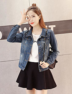 Women's Daily Going out Simple Casual Spring Fall Denim Jacket,Solid Peaked Lapel Long Sleeve Regular Cotton
