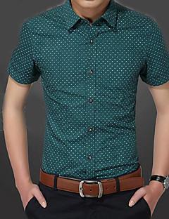 メンズ カジュアル/普段着 シャツ,シンプル シャツカラー 水玉 コットン 半袖