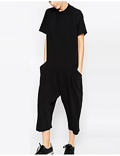 Damen Street Schick Party Jumpsuit Lose einfarbig Sommer
