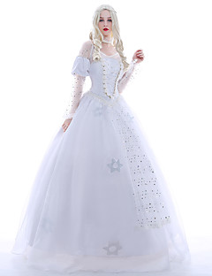 Costumes de Cosplay Costume de Soirée Bal Masqué Princesse Reine Cosplay de Film Blanc Robe Jupon Perruque Halloween Noël Carnaval Nouvel