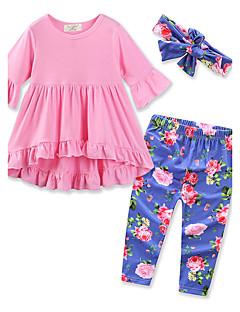 Mädchen Sets einfarbig Blumen Baumwolle Frühling Herbst Lange Hose Kleidungs Set