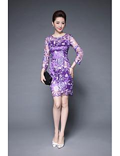 hesapli YBKCP-Kadın Günlük/Sade Sade Dantel Elbise Solid,3/4 Kol Yuvarlak Yaka Diz üstü Polyester Splandeks Yaz Normal Bel Mikro-Esnek Orta