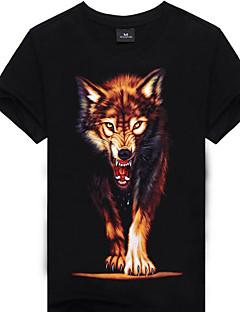 お買い得  メンズTシャツ&タンクトップ-男性用 お出かけ Tシャツ, 活発的 シャツカラー ソリッド ストライプ 幾何学模様 コットン リネン ポリエステル ハーフスリーブ