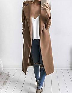 レディース お出かけ 冬 コート,シンプル シャツカラー ソリッド ロング ポリエステル 長袖