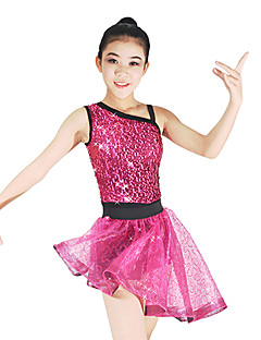 Jazz Leotards Outfits Two Pieces Tutus & Skirts Women's Children's Performance Elastic Lycra Paillette Sleeveless Natural Skirts Leotard