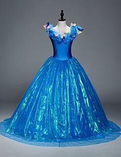 tanie Kostiumy filmowe i telewizyjne-Księżniczka Kopciuszek Bajkowe Kostiumy Cosplay Kostiumy z filmów Niebieski Sukienka Spódnica Święta Halloween Nowy Rok Organza Satyna