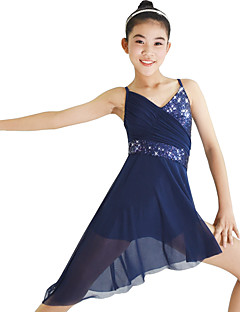 cheap Kids' Dancewear-Ballet Dresses Women's Performance Elastic Lycra Paillette Ruffles Sleeveless Natural Dress Headwear