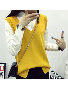 cheap Women's Sweaters-Women's Going out Sleeveless Wool Vest - Solid Colored V Neck