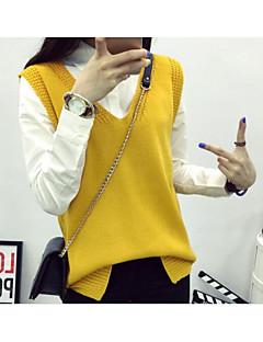 baratos Suéteres de Mulher-Mulheres Para Noite Sem Manga Lã Colete - Sólido Lã