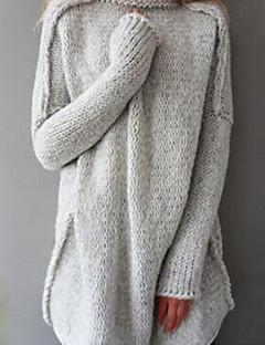baratos Suéteres de Mulher-Mulheres Manga Longa Algodão Solto Longo Pulôver - Sólido Algodão / Gola Alta / Inverno