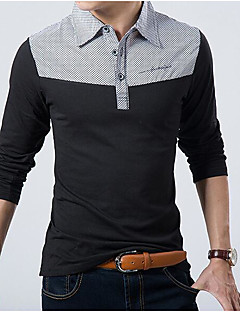 Men's Daily Casual Polo,Color Block Shirt Collar Long Sleeves Cotton