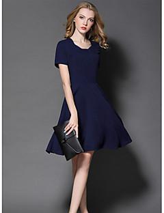 Kadın Dışarı Çıkma Sevimli Kılıf Elbise Solid,Kısa Kollu Yuvarlak Yaka Diz üstü Polyester Yaz Normal Bel Mikro-Esnek Orta