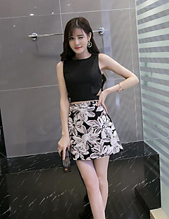 Women's Daily Casual Summer T-shirt Skirt Suits,Floral Round Neck Sleeveless Cotton
