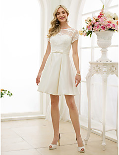 A-Line Illusion Neckline Knee Length Lace Satin Wedding Dress with Bow(s) Sashes/ Ribbons by LAN TING BRIDE®