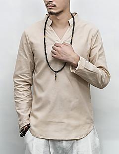 お買い得  メンズTシャツ&タンクトップ-メンズ お出かけ カジュアル/普段着 春 夏 Tシャツ,ヴィンテージ シンプル スタンド ソリッド リネン 長袖 薄手