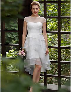 お買い得  ホワイトショートドレス-Aライン プリンセス イリュージョンネックライン アシメントリー レース オーガンザ チュール アップリケ ティアード とともに カスタムウェディングドレス 〜によって LAN TING BRIDE®