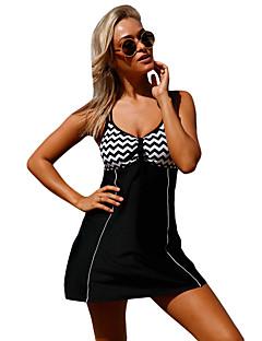 billige Lagersalg-Dame Sporty stil Store størrelser Grunnleggende Svart Bikinikjole Badetøy - Stripet Racerrygg XL XXL XXXL