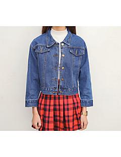 Damen Solide Einfach Sport Jeansjacke,Hemdkragen Frühling Lange Ärmel Standard Baumwolle überdimensional