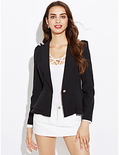 Women's Work Simple Spring Fall Blazer,Print Solid Color Notch Lapel Long Sleeve Long Others