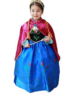 billige Barnekostymer-Prinsesse Eventyr Anna Cosplay Kostumer Party-kostyme Barne Jul Halloween Barnas Dag Festival / høytid Halloween-kostymer Blå Lapper