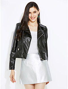 Women's Casual/Daily Street chic Punk & Gothic Spring Fall Leather Jacket,Solid Notch Lapel Long Sleeve Short