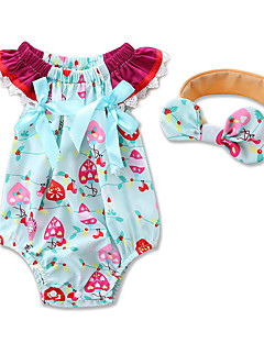 cheap The Freshest One-Piece-Baby Girls' Floral / Dresswear Geometric / Fashion Short Sleeve Cotton Bodysuit Blue / Toddler