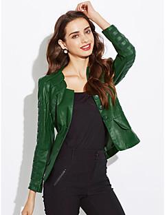 女性 プラスサイズ 春 ジャケット ボートネック ソリッド レッド / ブラック / グリーン ポリウレタン 長袖 ミディアム