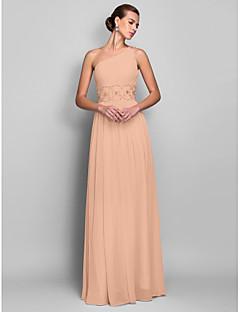baratos Vestidos de Formatura-Tubinho Assimétrico Longo Chiffon Frente Única Baile de Formatura Vestido com Miçangas / Franzido de TS Couture®