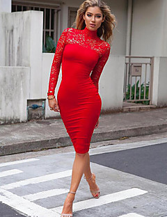 Women's Daily Holiday Going out Club Bodycon Dress,Solid Turtleneck Midi Long Sleeves Polyester Winter Fall High Rise Inelastic Thin